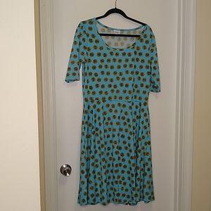 Lularoe blue sunflower Nicole dress